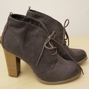Suede-like lace up booties